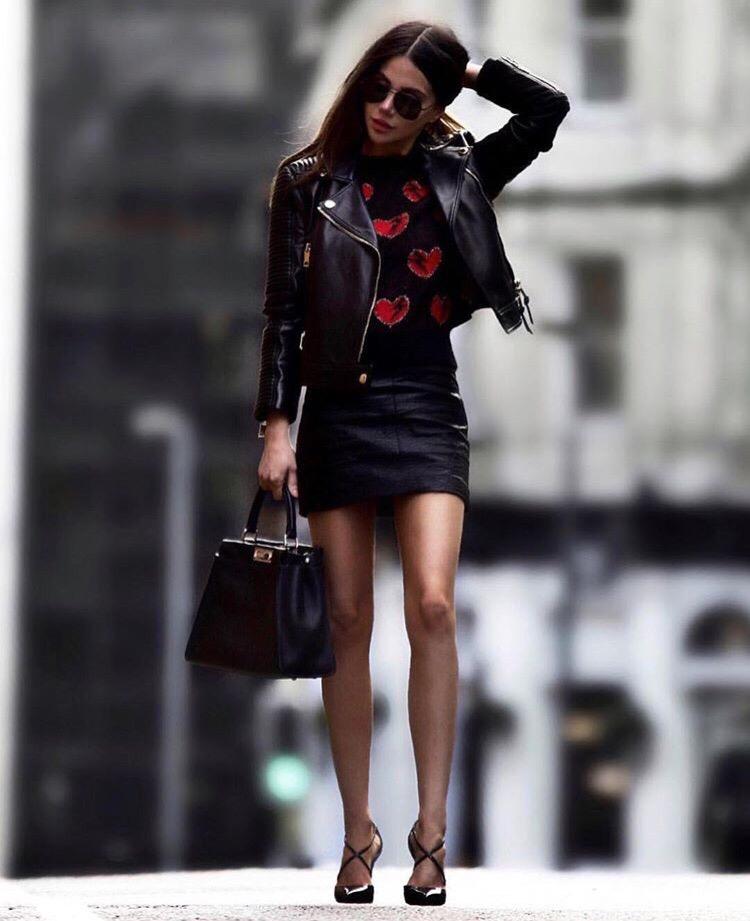 Стильный образ с кожаной курткой
